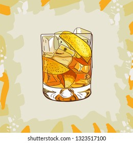 Godmother Contemporary classic cocktail illustration collection. Alcoholic cocktails hand drawn vector illustration set. Menu design item of sketch bar drink glass.