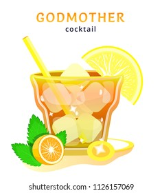 godmother. popular alcoholic cocktail. exotic tropical beach bar. fresh drink in glass cup with orange, golden ring. modern flat cartoon vector illustration icons on white. godmother cocktail