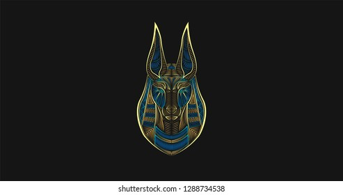 Gods of Ancient Egypt. Anubis Jackal-Headed god of funerals and death. Colorful digital lineart. Ancient logotype. Abstract hieroglyph. Egyptian poster.
