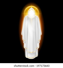 Gods guardian angel in white dress with golden radiance.  Religious concept