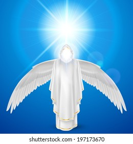 Gods guardian angel in white dress with wings down against sky background and bright sun flare. Religious concept