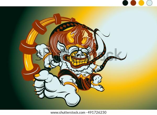 Gods Lightning Thunder Japanese Mythology Stock Vector Royalty Free 491726230