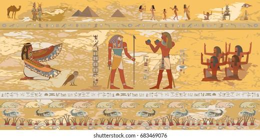 Gods and Pharaohs of Egypt. Hieroglyphic carvings, frescoes, mythological scenes. Egyptian gods and pharaohs background. Vector illustration