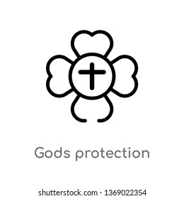 gods protection vector line icon. Simple element illustration. gods protection outline icon from zodiac concept. Can be used for web and mobile
