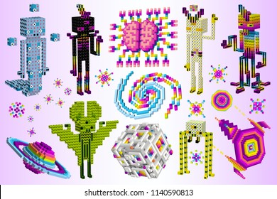 Gods from the stars. Galactic mind game. Aliens on Saturn.3D cubes, pixel art,space pop style. Isometric characters and spaceship. Set of extraterrestrials. Digital vector