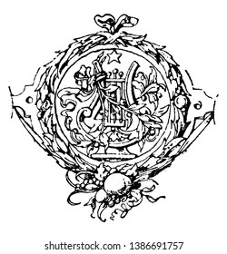 Goethe's Work Symbol from a title to an edition, it is an opposition invented by the romantics, vintage line drawing or engraving.