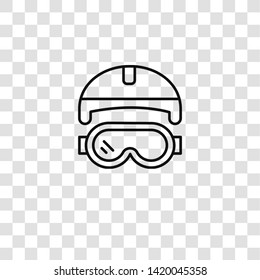 goggles icon from  collection for mobile concept and web apps icon. Transparent outline, thin line goggles icon for website design and mobile, app development