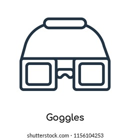 Goggles icon vector isolated on white background, Goggles transparent sign , thin symbols or lined elements in outline style