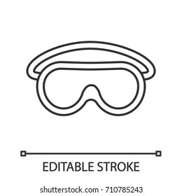 Goggles linear icon. Protective spectacles. Thin line illustration. Contour symbol. Vector isolated outline drawing. Editable stroke