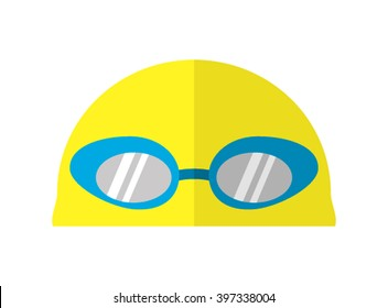 Goggles and swimming cap flat icon. vector illustration