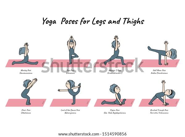 Gohan Cartoon Character Yoga Poses Legs Stock Vector Royalty Free 1514590856