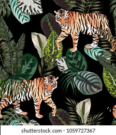 Going exotic animal tiger in the dark jungle pattern black background illustration seamless vector trendy composition beach wallpaper
