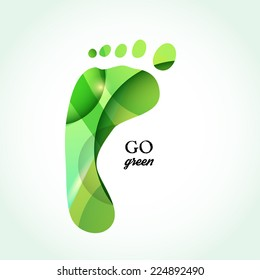 Going green concept. Green feet over white background with text