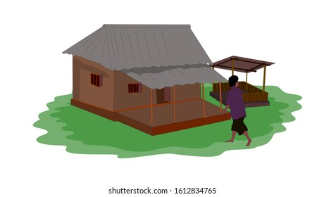 Going to a guy in a village house isolated illustration