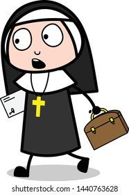 Going with Letter and Briefcase - Cartoon Nun Lady Vector Illustration