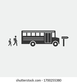 going to school vector icon school bus picking up students icon