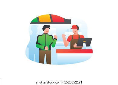 A Gojek Driver Orders Food To The Cashier At The Restaurant Or Supermarket. Ride Sharing Vector Illustration