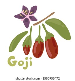 Goji berries vector illustration. Healthy detox natural product. Flat design organic food. Superfood wolfberry icon with a flower on the bench isolated on white