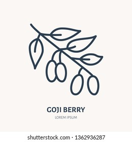 Goji berry flat line icon. Medicinal plant, superfood vector illustration. Thin sign for herbal medicine logo.