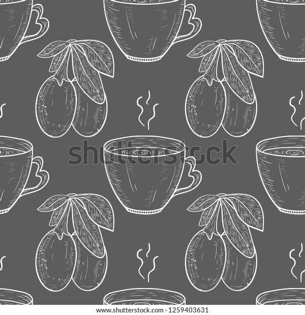 Goji Berry Leaf Tea Sketch Monophonic Stock Vector Royalty Free