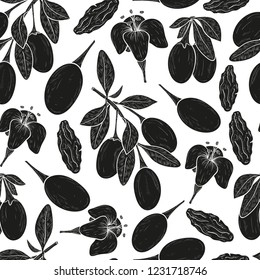 Goji. Branch, berry, leaf, flower. Monophonic. Wallpaper, seamless, texture. Black silhouette on white background.