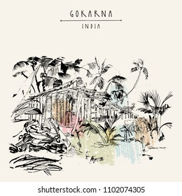 Gokarna beach, Karnataka state, India. Palm trees, a hut made of palm leaves, sand.  Artistic sketch in retro style. Travel poster, postcard with Gokarna India hand lettered title