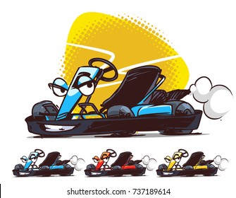 Go-kart character.  Cartoon Illustration