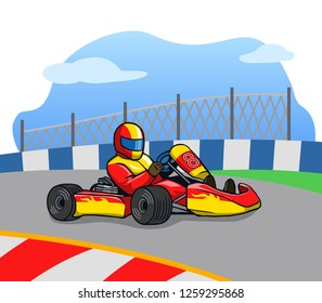 Gokart racer running so fast on the track.