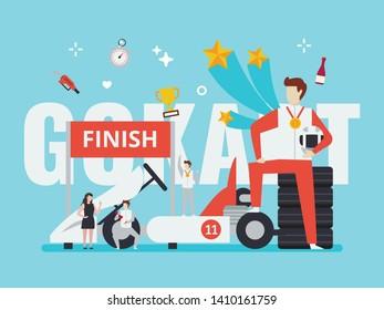 Gokart racing illustration with tiny people style. Suitable for gokart driving range, gokart website, and any gokart race related purpose.