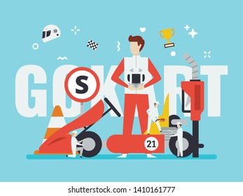 Gokart racing illustration with tiny people style. Suitable for gokart driving range, gokart website, and any gokart race related purpose.