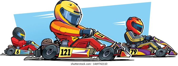 Go-kart racing. Karting competition. Cartoon illustration.