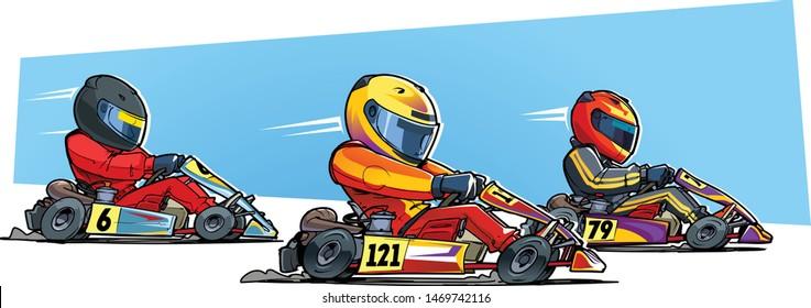 Go-kart racing. Karting competition. Cartoon illustration.