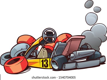 Go-Kart Racing. Trouble on the track