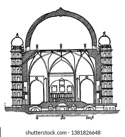 Gol Gumbaz (Section), bijapur, indian sultan, mausoleum, mohammed adil shah, tomb of mahmud, vintage line drawing or engraving illustration.