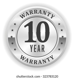 Gold 10 Year Warranty Badge On White Background