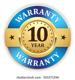 Gold 10 year warranty badge with blue border on white background
