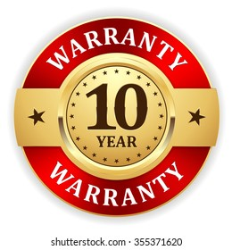Gold 10 year warranty badge with red border on white background