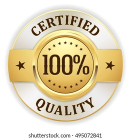 Gold 100 percent certified quality badge /button with white border on white background
