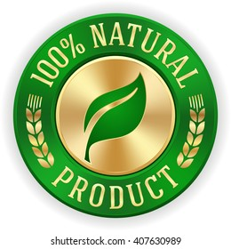 Gold 100 percent natural product badge with green metallic border
