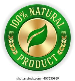 Gold 100% natürliche Produktabzeichen mit grüner metallischer Grenze