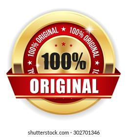 Gold 100 percent original badge with red ribbon on white background