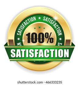 Gold 100 percent satisfaction badge / button with green ribbon on white background