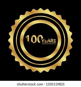 gold 100 years anniversary celebration emblem.grunge illustration