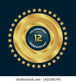 gold 12 years anniversary badge,label,sticker