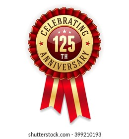 Gold 125th anniversary rosette, badge with red ribbon on white background