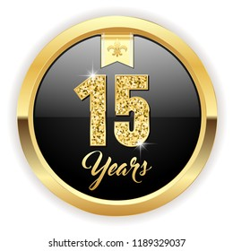 Gold 15 years, anniversary button with gold letters