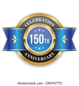 Gold 150th anniversary badge with blue ribbon on white background