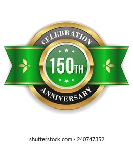 Gold 150th anniversary badge with green ribbon on white background