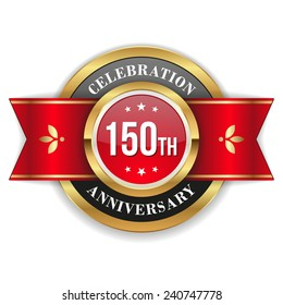 Gold 150th anniversary badge with red ribbon on white background