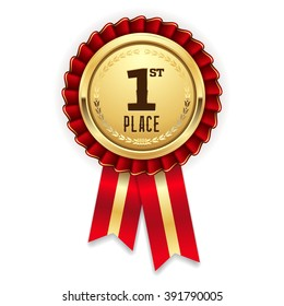 Gold 1st place rosette, badge with red ribbon on white background